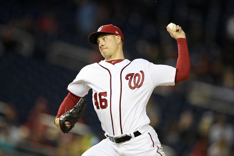 Washington Nationals starting pitcher Patrick Corbin delivers during the third inning of a baseball game against the St. Louis Cardinals, Monday, April 29, 2019, in Washington. (AP Photo/Nick Wass)