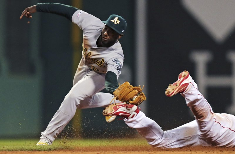 Oakland Athletics shortstop Jurickson Profar reaches to tag Boston Red Sox's Rafael Devers, right, who safely steals second base during the seventh inning of a baseball game at Fenway Park, Monday, April 29, 2019, in Boston. (AP Photo/Charles Krupa)