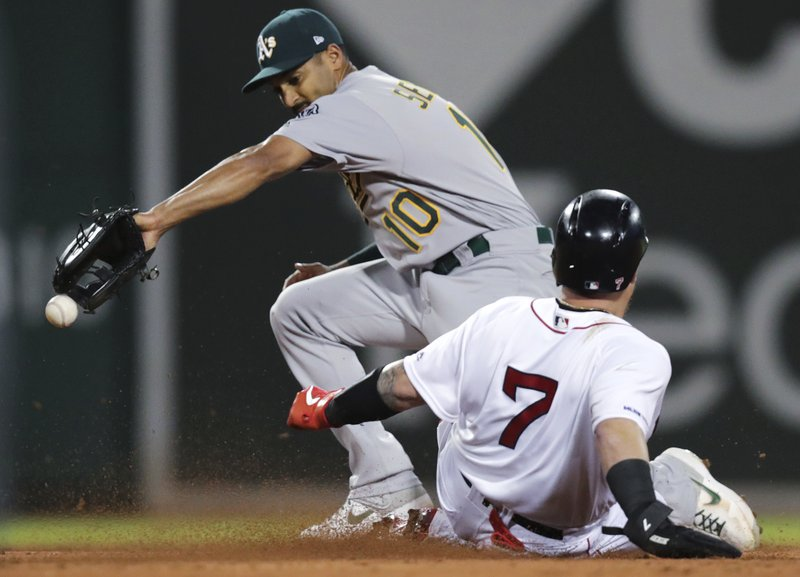 Oakland Athletics shortstop Marcus Semien (10) tries unsuccessfully to make the force on Boston Red Sox's Christian Vazquez (7) during the third inning of a baseball game at Fenway Park, Monday, April 29, 2019, in Boston. Oakland Athletics second baseman Jurickson Profar was charged with a throwing error on the play. (AP Photo/Charles Krupa)