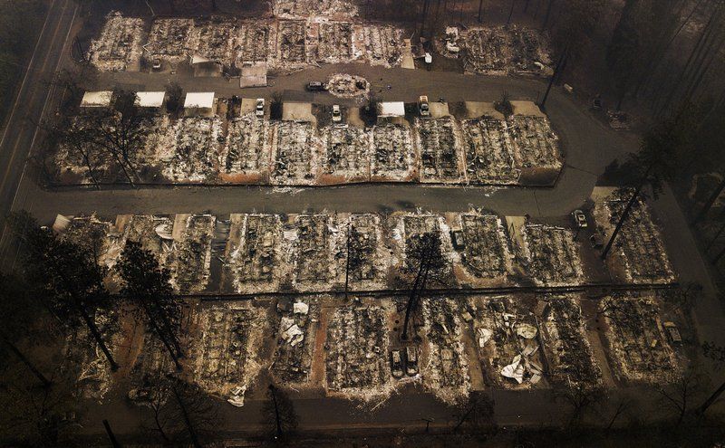 FILE - This Nov. 15, 2018, aerial file photo shows the remains of residences leveled by the Camp wildfire in Paradise, Calif. Pacific Gas & Electric Corp.'s top financial executives say they still haven't determined when the utility can start compensating victims of recent wildfires started by the utility's equipment. (AP Photo/Noah Berger, File)