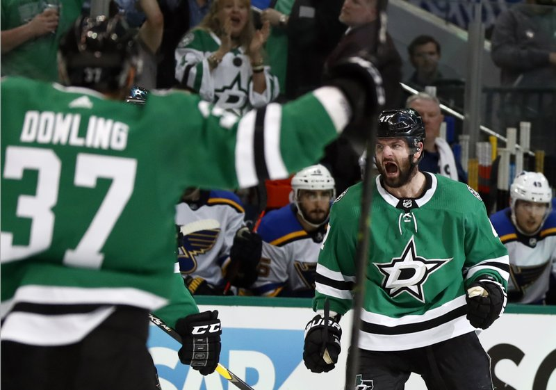 Dallas Stars' Alexander Radulov, of Russia, celebrates after scoring as teammate Justin Dowling (37) cheers during the first period in Game 3 of an NHL second-round hockey playoff series against the St. Louis Blues, Monday, April 29, 2019, in Dallas. (AP Photo/Tony Gutierrez)