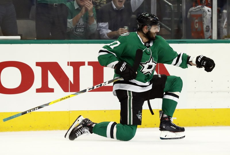 Dallas Stars' Alexander Radulov, of Russia, celebrates after scoring during the first period in Game 3 of an NHL second-round hockey playoff series against the St. Louis Blues, Monday, April 29, 2019, in Dallas. (AP Photo/Tony Gutierrez)
