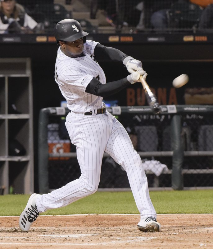 Chicago White Sox's Tim Anderson hits a two run home run against the Baltimore Orioles during the third inning of a baseball game Monday, April 29, 2019, in Chicago. (AP Photo/Mark Black)