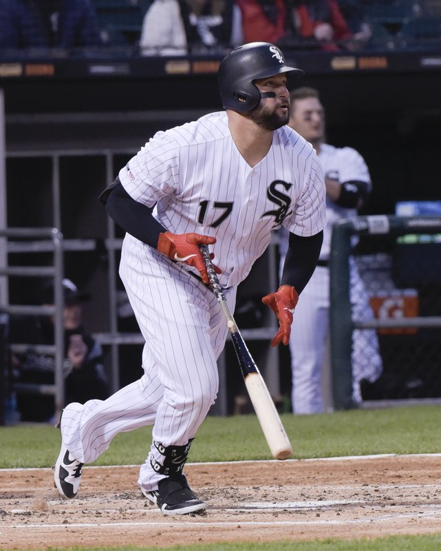 Chicago White Sox's Yonder Alonso watches his two-run home run against the Baltimore Orioles during the second inning of a baseball game Monday, April 29, 2019, in Chicago. (AP Photo/Mark Black)