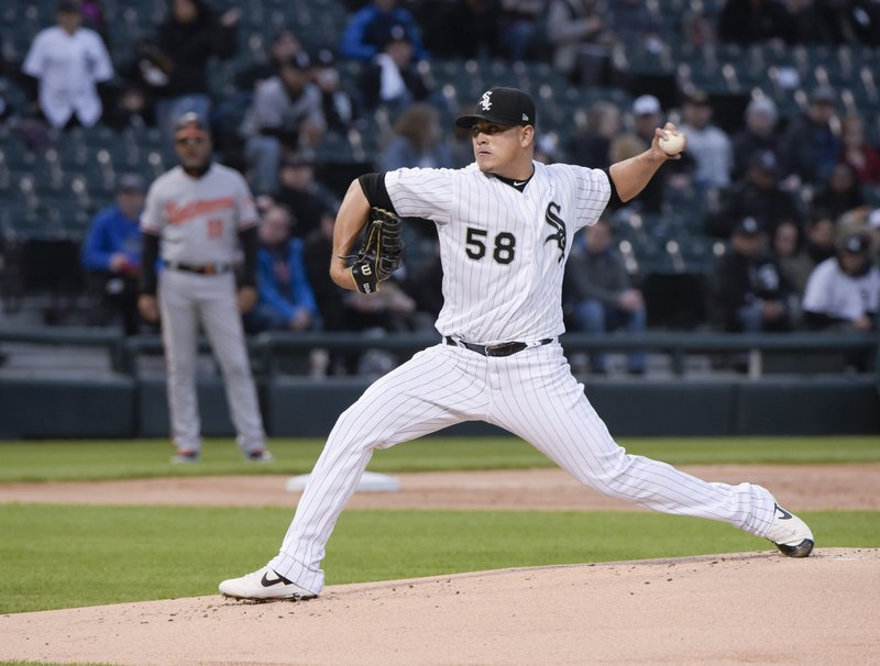 Chicago White Sox pitcher Manny Banuelos throws against the Baltimore Orioles in the first inning of a baseball game Monday, April 29, 2019, in Chicago. (AP Photo/Mark Black)