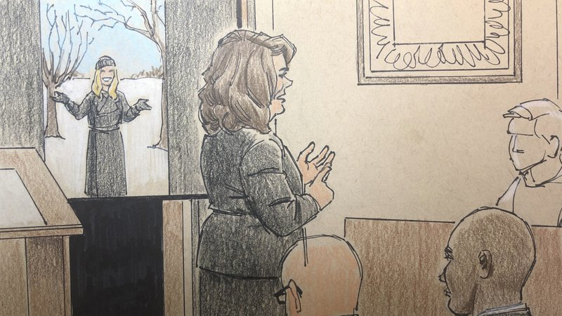 This courtroom sketch depicts prosecutor Amy Sweasy, center, speaking during closing arguments in the trial of former Minneapolis police officer Mohamed Noor, Monday, April 29, 2019 in Minneapolis. Noor is charged in the fatal shooting of an unarmed Australian woman, Justine Ruszczyk Damond, in July 2017 after she called 911 to report a possible sexual assault behind her home. (Cedric Hohnstadt via AP)