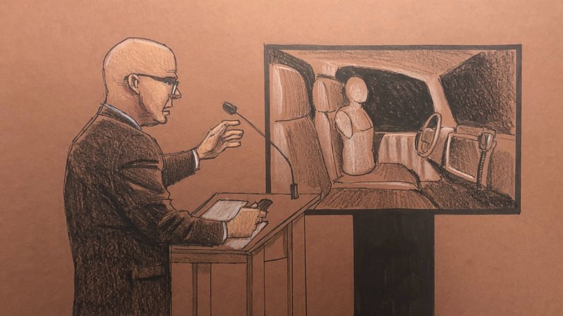 This courtroom sketch depicts defense attorney Thomas Plunkett, left, speaking during closing arguments in the trial of former Minneapolis police officer Mohamed Noor, Monday, April 29, 2019, in Minneapolis. Noor is charged in the fatal shooting of an unarmed Australian woman, Justine Ruszczyk Damond, in July 2017 after she called 911 to report a possible sexual assault behind her home. (Cedric Hohnstadt via AP)