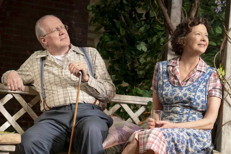 This image released by Polk & Co. shows Tracy Letts and Annette Bening during a performance of