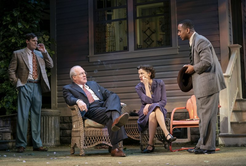 This image released by Polk & Co. shows, from left, Benjamin Walker, Tracy Letts, Annette Bening and Hampton Fluker during a performance of