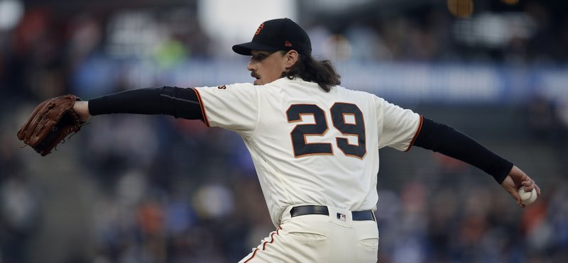 San Francisco Giants pitcher Jeff Samardzija works against the Los Angeles Dodgers in the first inning of a baseball game Monday, April 29, 2019, in San Francisco. (AP Photo/Ben Margot)