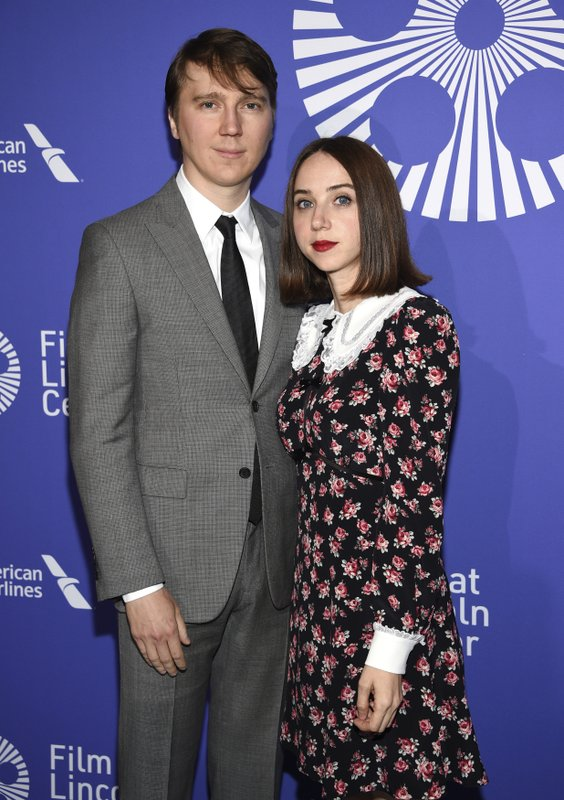 Actors Paul Dano, left, and Zoe Kazan attend the Film Society of Lincoln Center's 50th anniversary gala at Alice Tully Hall on Monday, April 29, 2019, in New York. (Photo by Evan Agostini/Invision/AP)