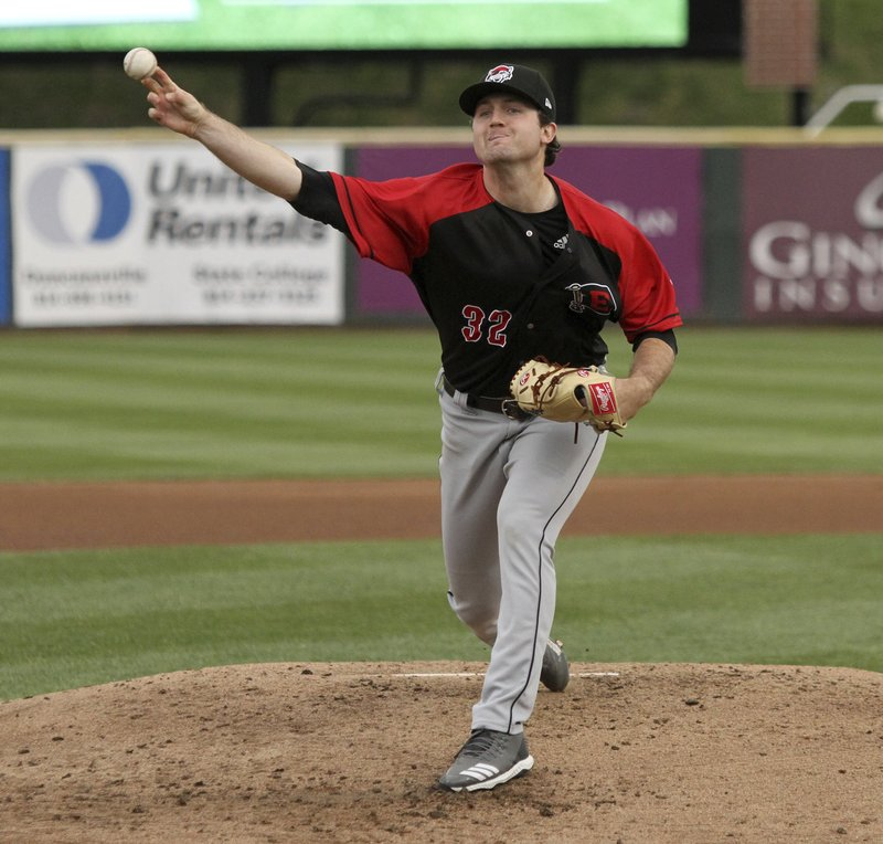 In this photo provided by Minor League Baseball, Erie SeaWolves pitcher Casey Mize delivers against the Altoona Curve during a minor league baseball game, Monday, April 29, 2019, in Altoona, Pa. Mize, the Detroit Tigers' No. 1 draft pick, pitched a no-hitter for the SeaWolves in his Double-A debut Monday night. (Mark Olson/Minor League Baseball via AP)