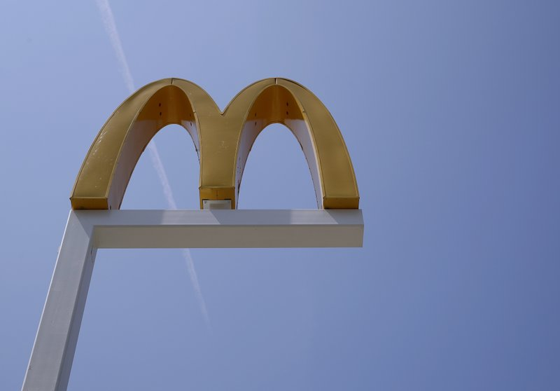 FILE- This Aug. 8, 2018, file photo shows the logo of McDonald's at a restaurant in Chicago. McDonald's Corp. reports financial results Tuesday, April 30, 2019. (AP Photo/Nam Y. Huh, File)