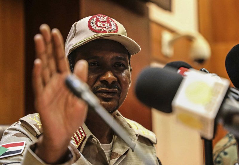 "Gen. Mohamed Hamdan Dagalo, the deputy head of the military council speaks at a press conference in Khartoum, Sudan, Tuesday, April 30, 2019. Sudan's ruling military council warned protesters against any further ""chaos"" as organizers call for mass rallies later this week. Dagalo, better known by his nickname"