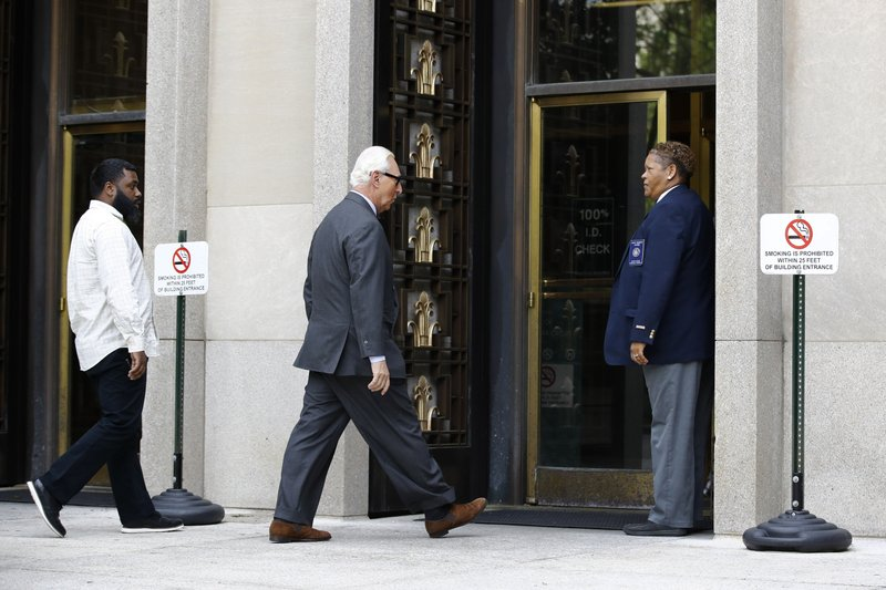Roger Stone, former campaign adviser for President Donald Trump, arrives at federal court for a hearing, Tuesday, April 30, 2019, in Washington. (AP Photo/Patrick Semansky)