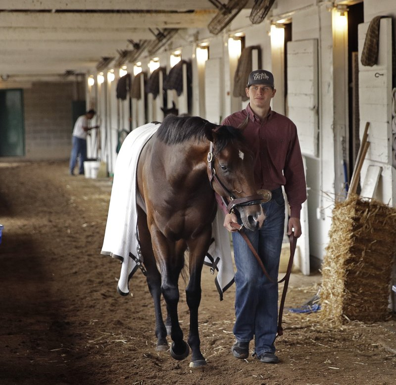 Kentucky Derby hopeful Omaha Beach is walked in his barn after a workout at Churchill Downs Tuesday, April 30, 2019, in Louisville, Ky. The 145th running of the Kentucky Derby is scheduled for Saturday, May 4. (AP Photo/Charlie Riedel)