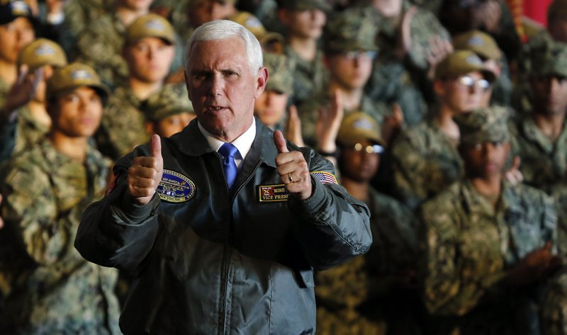 Vice President Mike Pence gives a thumbs up after a speech aboard the nuclear aircraft carrier USS Harry S. Truman at the Naval Station Norfolk in Norfolk, Va., Tuesday, April 30, 2019. (AP Photo/Steve Helber)