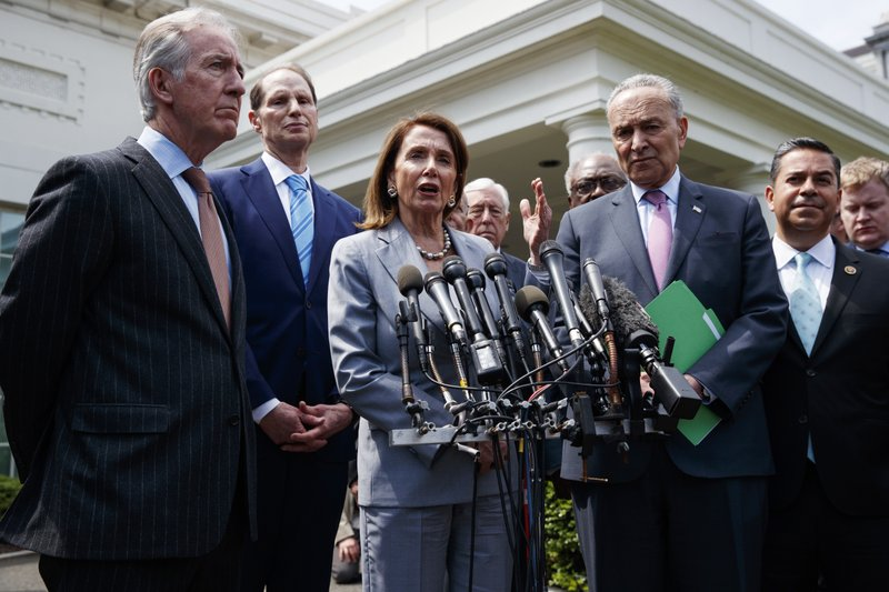 Speaker of the House Nancy Pelosi of Calif., talks with reporters after meeting with President Donald Trump about infrastructure, at the White House, Tuesday, April 30, 2019, in Washington. (AP Photo/Evan Vucci)