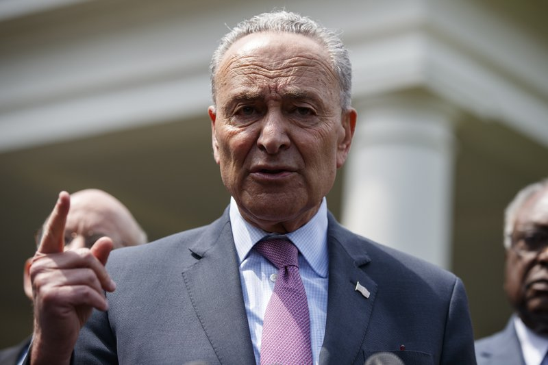 Senate Minority Leader Sen. Chuck Schumer of N.Y., speaks with reporters after meeting with President Donald Trump about infrastructure, at the White House, Tuesday, April 30, 2019, in Washington. (AP Photo/Evan Vucci)