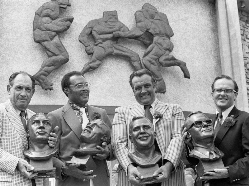 RETRANSMISSION TO CORRECT AGE TO 93 - FILE - In this July 29, 1972 file photo, Pro Hall of Fame enshrinees, from left: Clarence