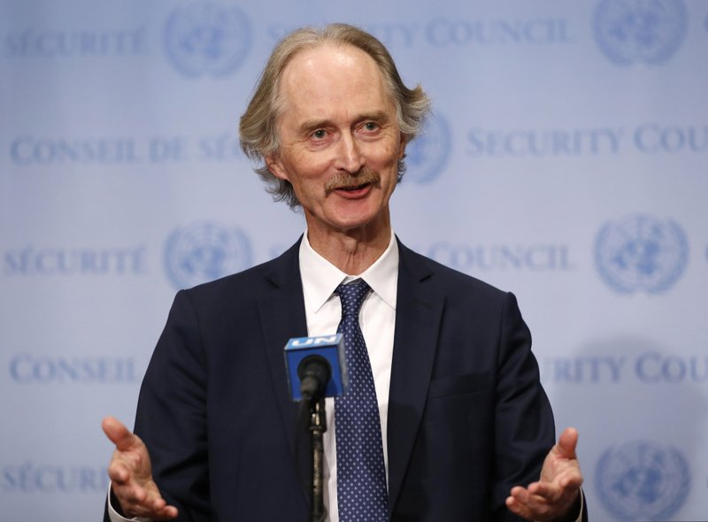 United Nations Special Envoy for Syria Geir Pedersen gestures as he speaks to the media following a United Nations Security Council meeting on Syria at U.N. headquarters, Tuesday, April 30, 2019, in New York. (AP Photo/Kathy Willens)