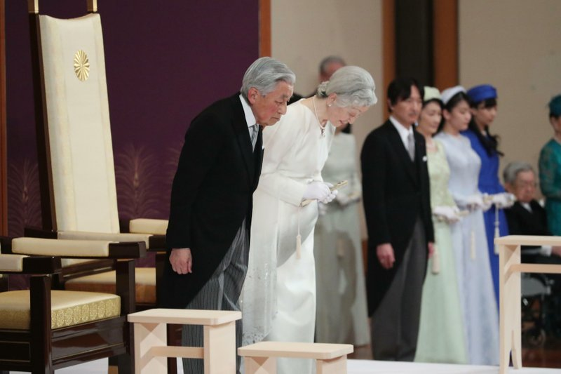 Japan's Emperor Akihito, left, and Empress Michiko, second left, bow as they prepare to leave after the ceremony of his abdication at the Imperial Palace in Tokyo, Tuesday, April 30, 2019. Akihito announced his abdication at a palace ceremony Tuesday in his final address, as the nation embraced the end of his reign with reminiscence and hope for a new era. (Japan Pool via AP)