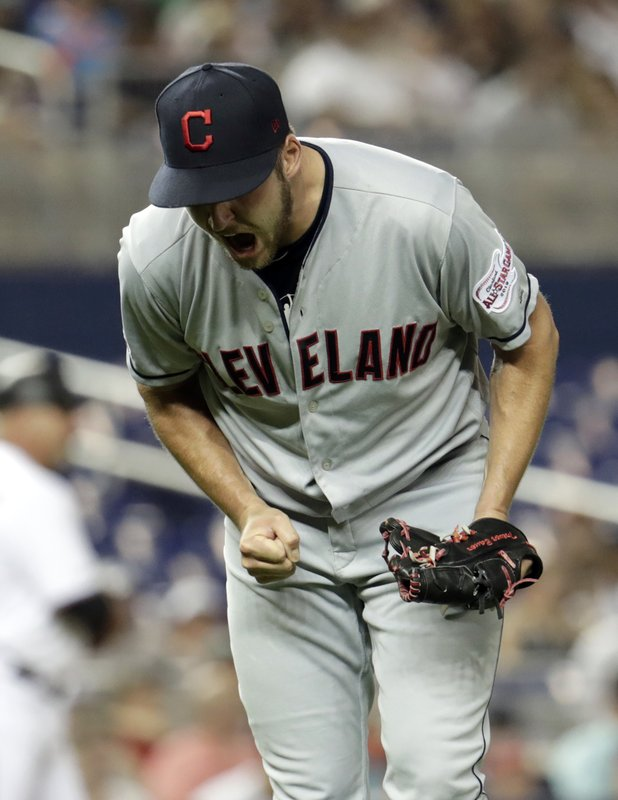 Cleveland Indians starting pitcher Trevor Bauer shouts as he walks to the dugout after pitching during the second inning of the team's baseball game against the Miami Marlins, Tuesday, April 30, 2019, in Miami. (AP Photo/Lynne Sladky)