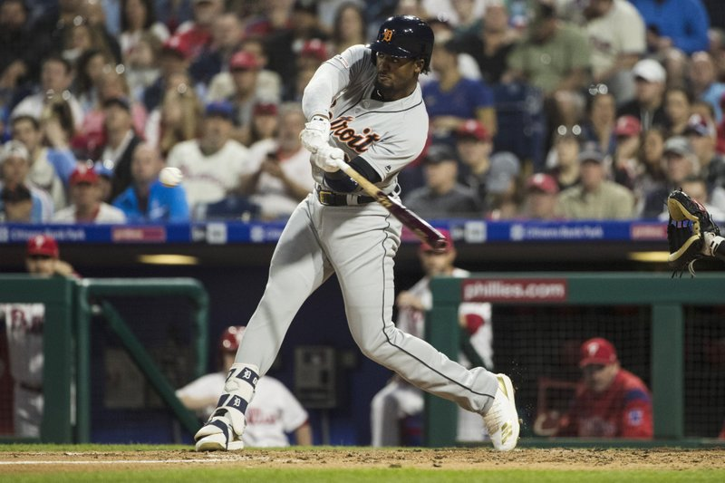 Detroit Tigers' Niko Goodrum hits a home run with one run batted in off of Philadelphia Phillies' Vince Velasquez during the third inning of their baseball game, Tuesday, April 30, 2019, in Philadelphia. (AP Photo/Matt Rourke)
