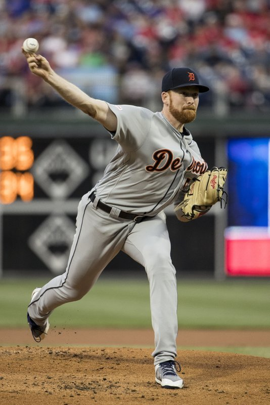 Detroit Tigers' Spencer Turnbull pitches during the first inning of a baseball game against the Philadelphia Phillies, Tuesday, April 30, 2019, in Philadelphia. (AP Photo/Matt Rourke)