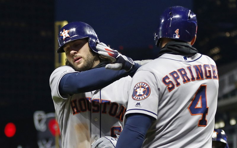 Houston Astros' Jake Marisnick, left, is congratulated by George Springer following his two-run home run off Minnesota Twins' pitcher Michael Pineda in the sixth inning of a baseball game Tuesday, April 30, 2019, in Minneapolis. (AP Photo/Jim Mone)
