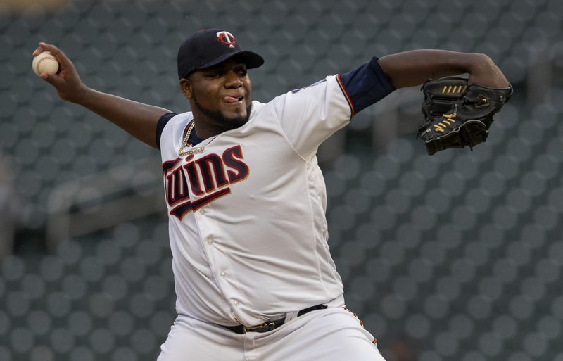 Minnesota Twins starting pitcher Michael Pineda throws to a Houston Astros batter during the first inning of a baseball game Tuesday, April 30, 2019, in Minneapolis. (Carlos Gonzalez/Star Tribune via AP)
