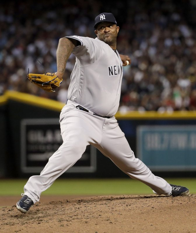 New York Yankees starting pitcher CC Sabathia throws a pitch for his 3,000th career strikeout, during the second inning of the team's baseball game against the Arizona Diamondbacks, Tuesday, April 30, 2019, in Phoenix. (AP Photo/Matt York)