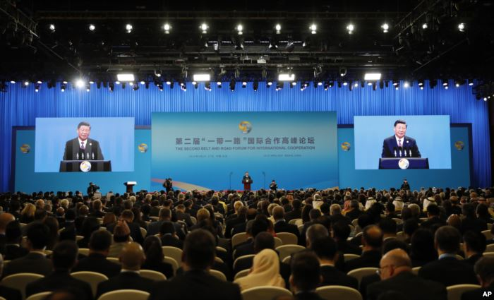 Chinese President Xi Jinping delivers his speech for the opening ceremony of
