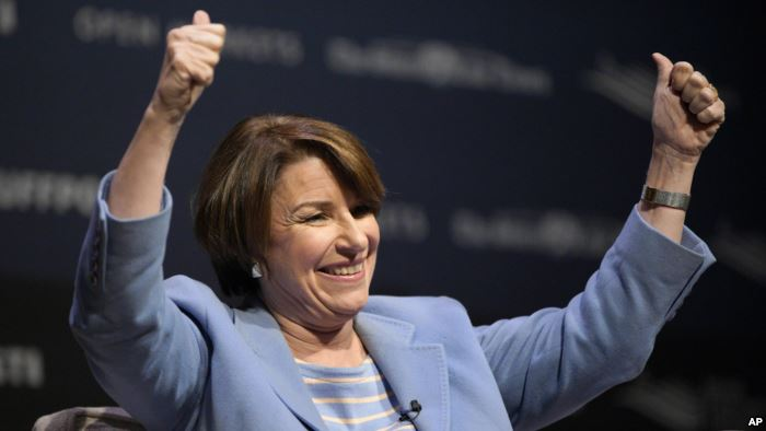 Democratic presidential candidate Sen. Amy Klobuchar, D-Minn., speaks at the