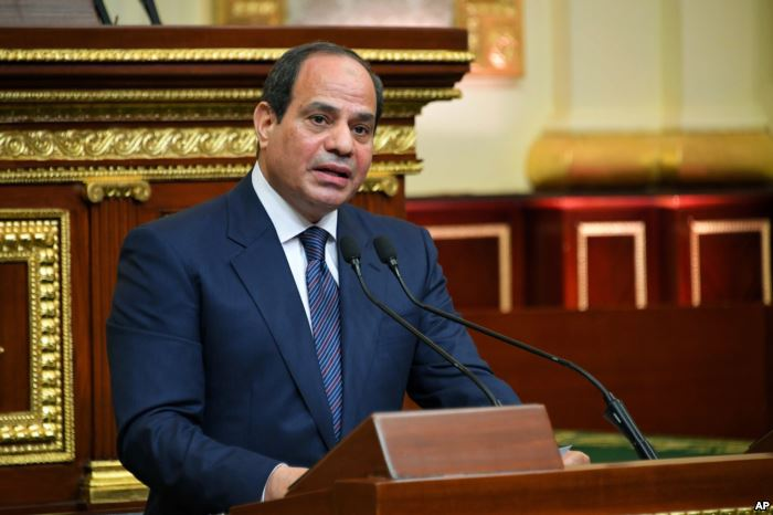 Egyptian President Abdel-Fattah el-Sissi addresses Parliament after being swo
