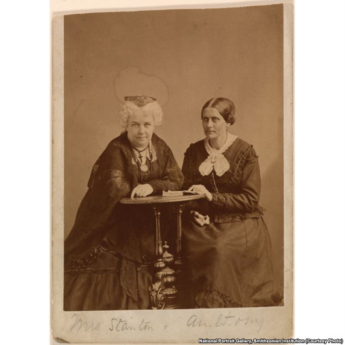 Elizabeth Cady Stanton (L) worked closely with her friend Susan B. Anthony (R