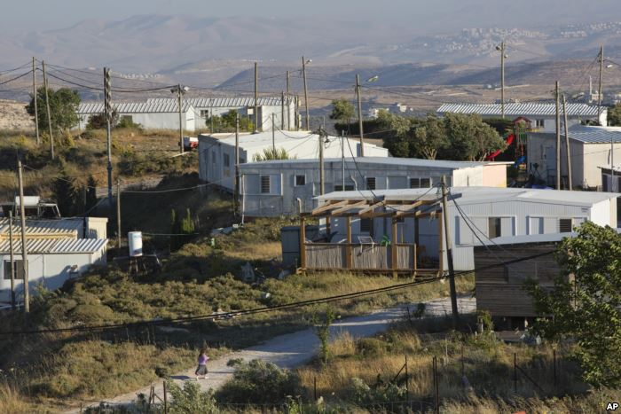 FILE - Amona, an unauthorized Israeli outpost in the West Bank, is seen east