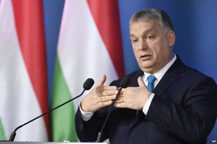 Hungarian Prime Minister Viktor Orban addresses the media during a press conf