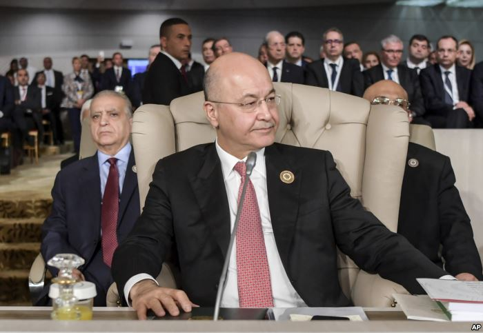 Iraq's President Barham Saleh attends the opening of the 30th Arab Summit