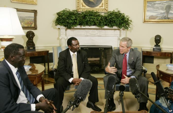 President Bush, second right, meets 2006 Democracy Award winners, from left t
