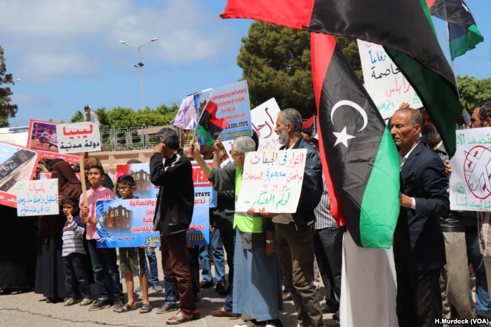 Protesters objecting to foreign contributions to the assault on Tripoli gathe