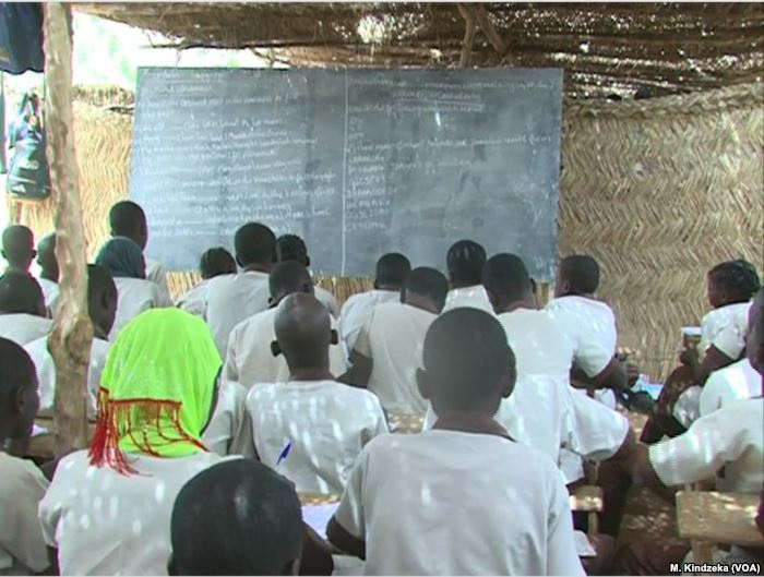 Schoolchildren are taught in makeshift classroom in Maroua, Cameroon, April 1