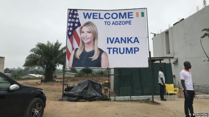 Signs greeted Ivanka Trump when she arrived in Adzopé, Ivory Coast, for