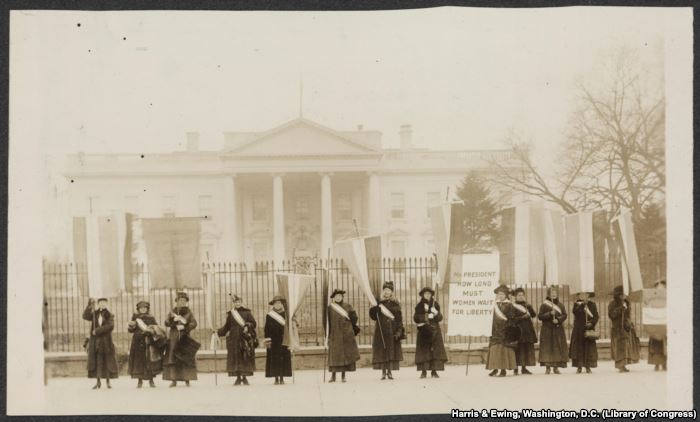 Suffragists on the picket line in front of the White House in 1917, three yea