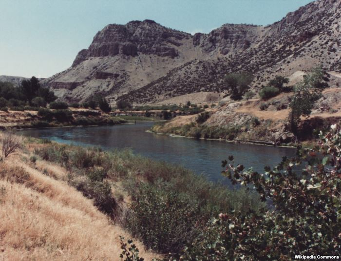 The Wind River on the Wind River Indian Reservation. Located in central-weste