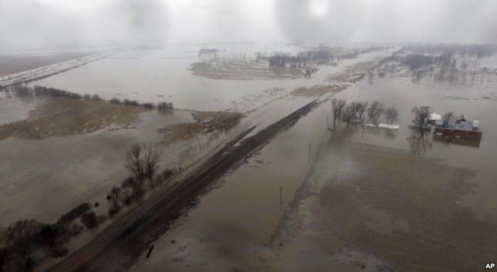 This aerial photo shows flooding along the Missouri River in Pacific Junction