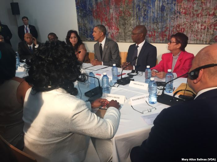 U.S. President Barack Obama meets with dissidents and other local Cubans at t