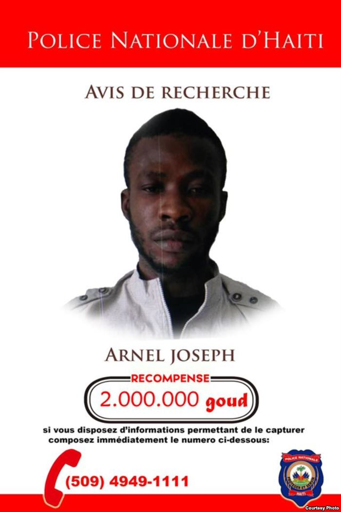 Wanted poster issued by Haiti's National Police force, PNH for alleged ga