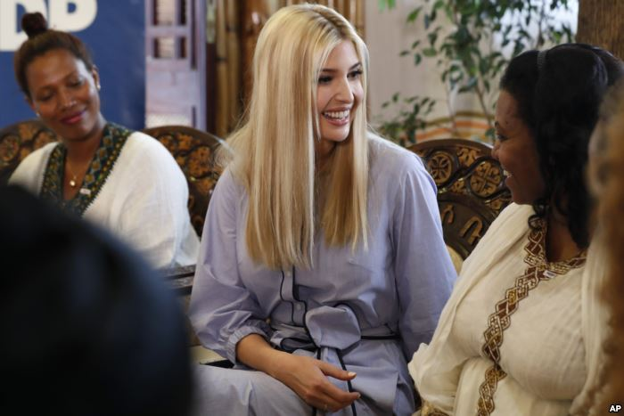 White House senior adviser Ivanka Trump, center, smiles at Azalech Tesfaye, r
