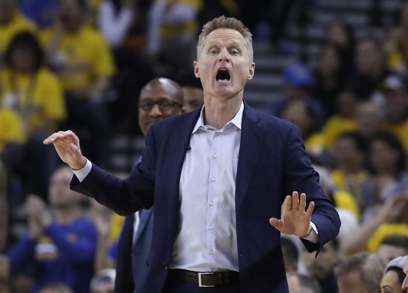 Golden State Warriors coach Steve Kerr yells during the first half of Game 2 of the team's second-round NBA basketball playoff series against the Houston Rockets in Oakland, Calif., Tuesday, April 30, 2019. (AP Photo/Jeff Chiu)